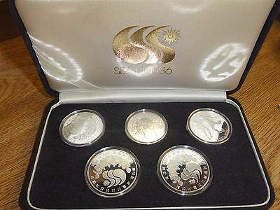 1986 Korea 10th Asian Games Commemorative 5 coins Proof Set