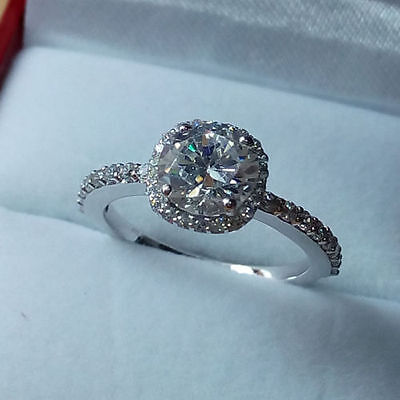 2.85ct Brilliant Cut Cubic Zirconia Engagement Ring 10k White Gold Free Size