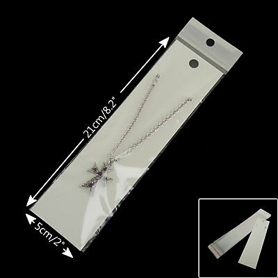 100 New White Fashion Jewellery Necklace Card Accessory Retail Display 5 x 21cm