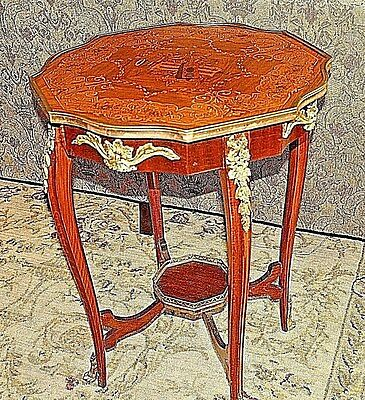 Louis XV Style Gilt-Metal Music & Flower Marquetry Inlaid Table