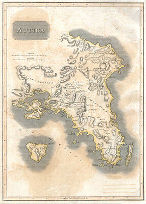 1815 Thomson Map of Attica (Anthens and Vicinity) Greece