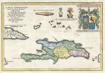 1731 D'Anville Map of Hispaniola or Santo Domingo (Haiti / Dominican Republic)