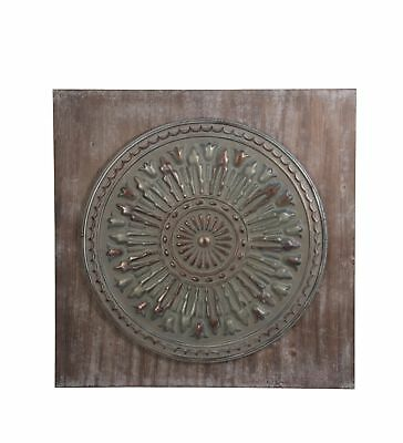 Zeckos Vintage Look Wood and Stamped Metal Square Wall Hanging 35 1/2 Inches