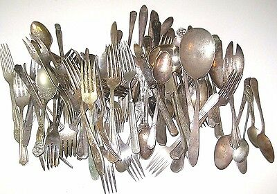 82 Pieces MIXED CRAFT Lot of Vintage Silverplate Flatware Forks Knives Spoons