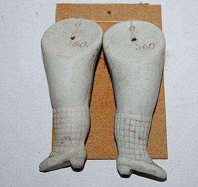pair antique German bisque doll legs with fishnet stockings-06018