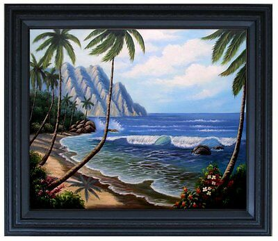 Framed, Quality Hand Painted Oil Painting, Pacific island Coast Scene, 20x24in