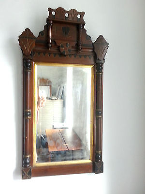 Antique Eastlake Victorian Mahogany Mirror with original beveled glass