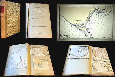 1901 Norcock Logbook for the HMS Glory, w/maps of Singapore, Hong Kong