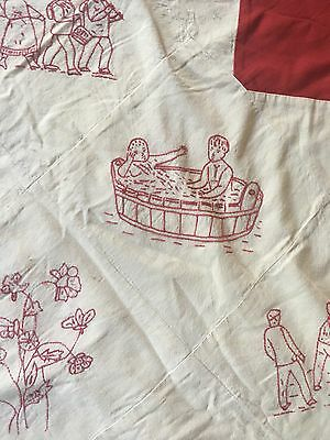 Antique Red Stitch & White embroidered Quilt Dated 1903 & 1925 Animals & People