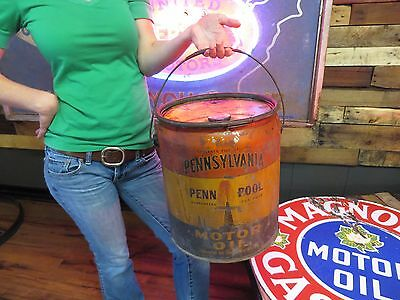 Pennsylvania  Older Graphics Gas Oil Station Advertising Sign 5 Gallon Can