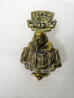 Vintage Brass Stratford on Avon Shakespeare Door Knocker  Architectural Hardware