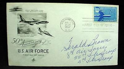 FDC 1957 AIR FORCE  Signed by WWII Ace Pilot USAF 55th Fighter Group G. Brown