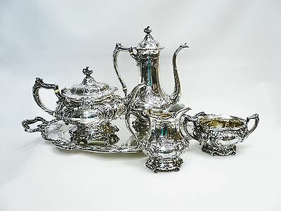 Early 20th Century Gorham Ornate Sterling Silver 5 Piece Tea Set Monogrammed