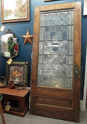 "Antique Mansion 95.5"" LEADED GLASS DOOR Stained and Beveled Glass Brass Hardware"