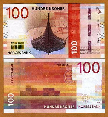 Norway, 100 Kroner, 2016 (2017), P-New, UNC > Redesigned