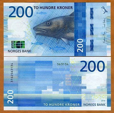 Norway, 200 Kroner, 2016 (2017), P-New, UNC, Redesigned