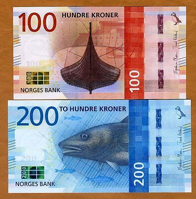 SET Norway, 100;200 Kroner, 2016 (2017), P-New, UNC > Redesigned