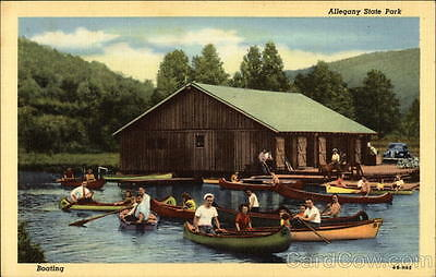 Salamanca NY Boating on the Lake at Allegany State Park Teich New York Linen PC