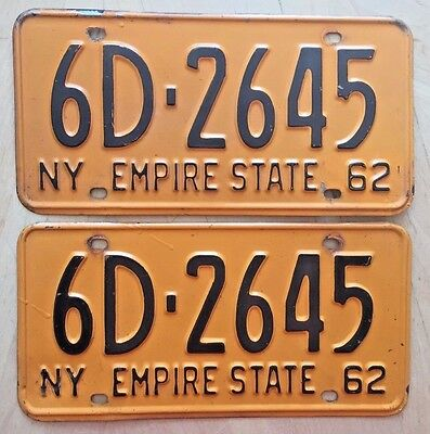 "Nice! 1962 New York Passenger License Plate Plates Matching Pair "" 6D 2645 ""  Ny"