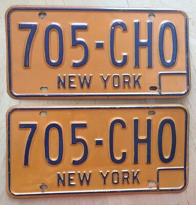 "New York Passenger License Plate Plates Matching Pair "" 705 Cho "" Train Cho Cho"