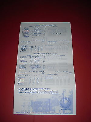 1994 Second Xi Durham V Middlesex Cricket Scorecard
