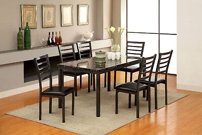 Furniture Of America Colman Faux Marble Top 60 In Dining Table Black Metal Frame