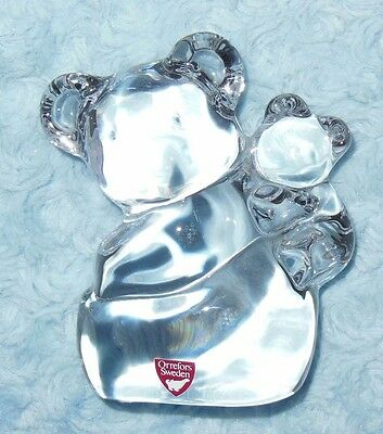 Orrefors Sweden Koala Mother Bear w/Baby Cub Crystal Glass Paperweight VGC