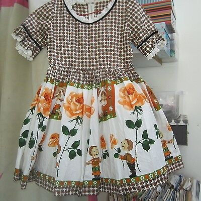 VINTAGE 1950s ORANGE ROSE BORDER PRINT FABRIC CHILD GIRL FULL SKIRT PARTY DRESS
