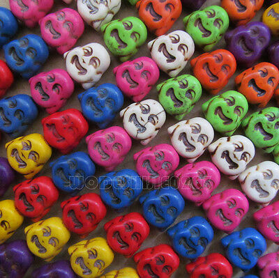 100pc 14*15mm Howlite Turquoise Double-sided Buddha Head Beads Wholesale PJ011