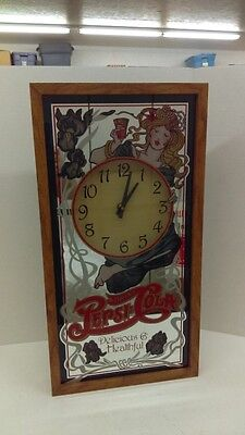 """Vintage 80s Drink Pepsi Cola Mirror Clock 25"""" x 13"""" Battery Operated Wood Framed"""