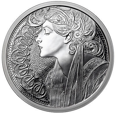 Alphonse Mucha Laurel 1 Oz Silver Coin #6 In Series Collection #coa Mucha Art