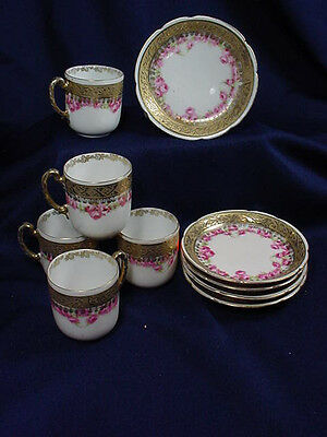 ROYAL BAYREUTH DEMI  CUPS SET OF FIVE W/ FIVE MATCHING COASTER PLATES as is