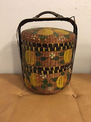 BASKET CHINESE WEDDING BASKET 2-TIER STACKABLE WICKER RATTAN WOVAN VINTAGE 1940s