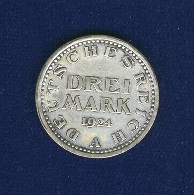 Germany  Weimar Republic   1924-A   3 Mark Silver Coin, Xf+