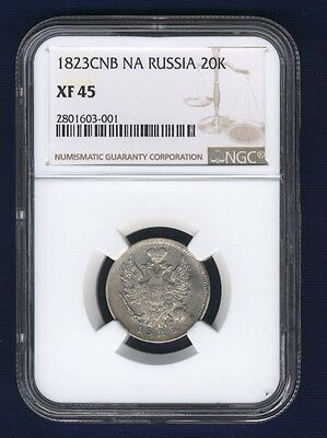 Russia  Alexander I   1823-Cnb-Na   20 Kopeks Silver Coin, Ngc Certified Xf45