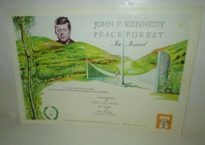 Vintage 1960's John F Kennedy Peace Forest Certificate Tree Planted Israel Jnf