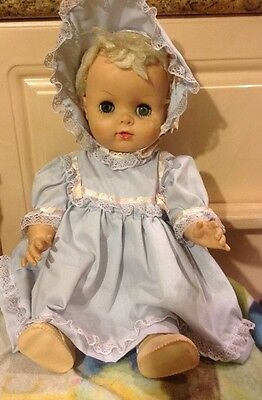 "Vintage 19"" Drink And Wet Baby Doll W Blond Hair Green Sleep Eyes Very Dry Hair"