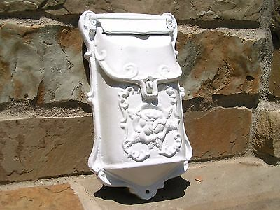 White Cast Iron Victorian style mailbox suggestion box Repro