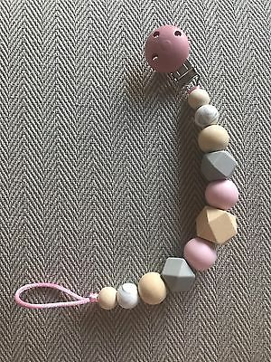 Baby Wooden Crochet Silicone Natural Pink Grey Dummy Clip Handmade Gift
