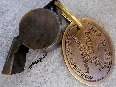 Rape Mugger LAPD Los Angeles Police Solid Brass Whistle