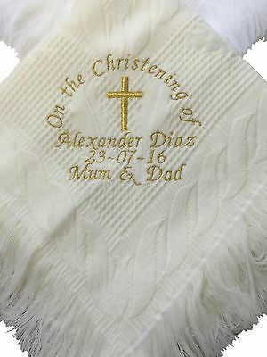 Cream Personalised Christening - Naming Day Blanket /shawl