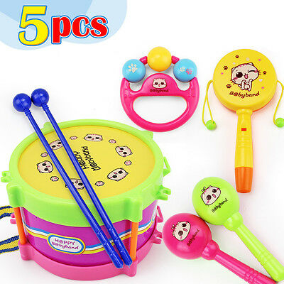 New 5pcs/Set Baby Infant Toddler Developmental Educational Toy Kids Drum Rattles