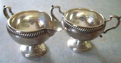 Antique FISHER SILVERSMITH 925 Sterling Silver Sugar Bowl & Creamer #766 125.5g