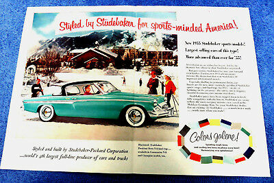 """1955 STUDEBAKER PRESIDENT  Double-Page Print Ad    16 1/4"""" x 11 1/2"""""""