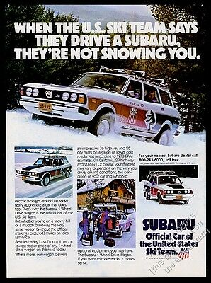 1979 Subaru 4wd station wagon U.S. US Ski Team photo vintage print ad