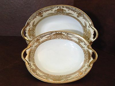 Noritake Fleurgold Set of 2 Oval Vegetable Serving Bowls Red Mark Circa 1920's