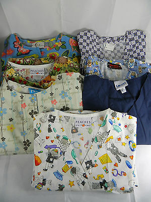 Lot of 7 Womens Scrub Tops Size Medium 3 Long Sleeve 4 Short Sleeve