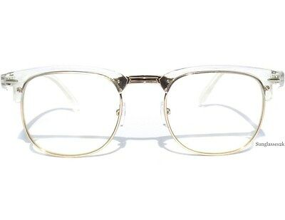 Half Frame Transparent and Silver Retro Soho Browline Style Clear Lens Glasses