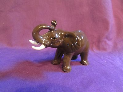 "Brown African Elephant w Tusks 3"" Porcelain Mint Gorgeous!"