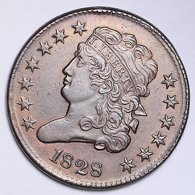 1828 13 STARS Classic Head Half Cent CHOICE AU FREE SHIPPING E101 APM
